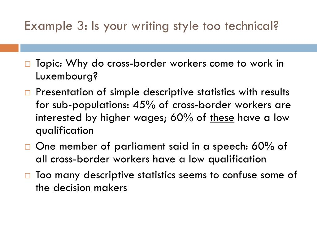 Example 3: Is your writing style too technical?