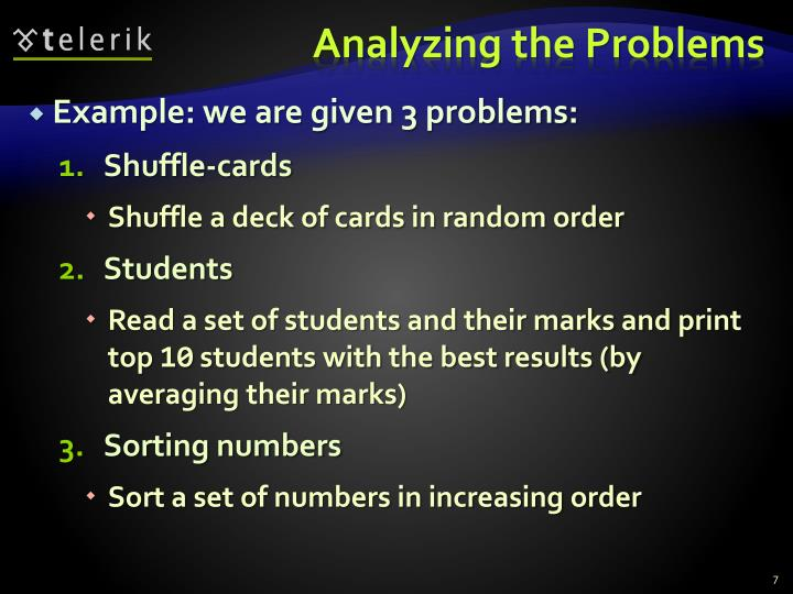 Analyzing the Problems