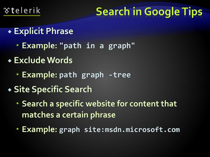 Search in Google Tips