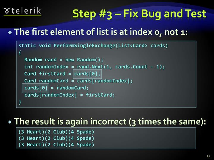 Step #3 – Fix Bug and Test