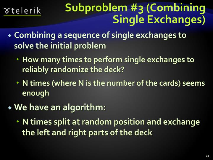 Subproblem #3 (Combining Single Exchanges)