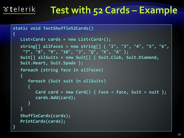 Test with 52 Cards – Example