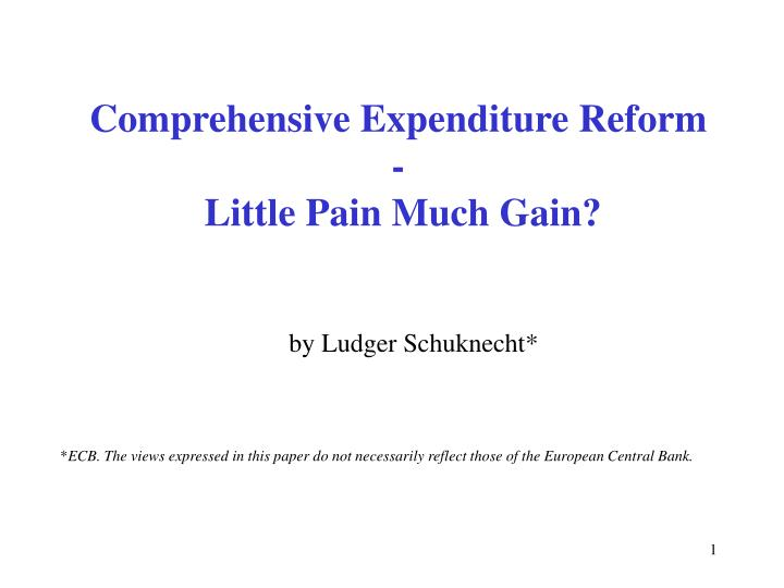 Comprehensive expenditure reform little pain much gain l.jpg