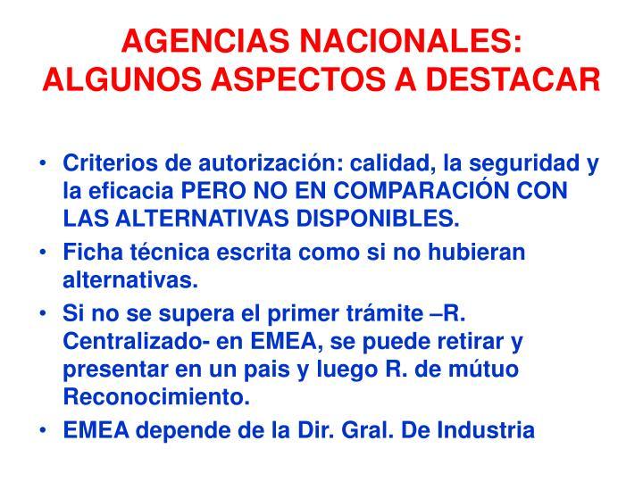 AGENCIAS NACIONALES: ALGUNOS ASPECTOS A DESTACAR