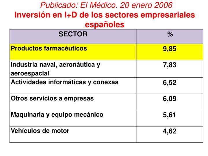 Publicado: El Médico. 20 enero 2006