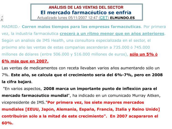 ANÁLISIS DE LAS VENTAS DEL SECTOR