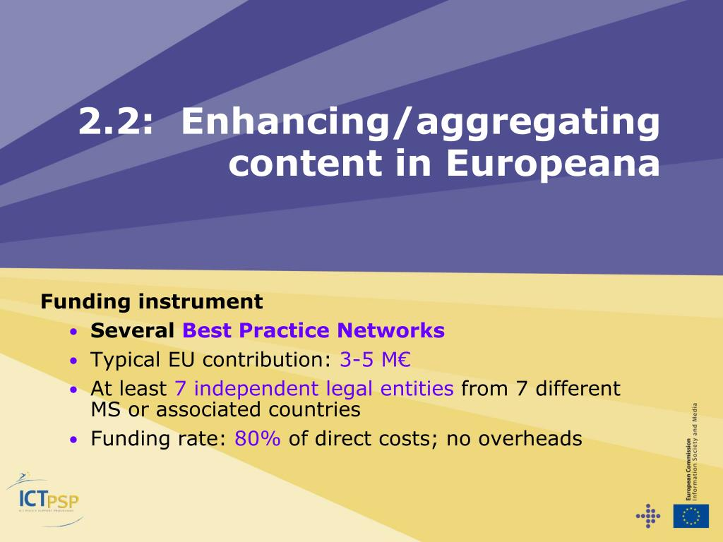2.2:  Enhancing/aggregating content in Europeana