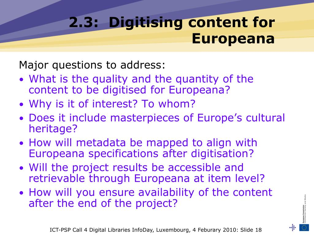 ICT-PSP Call 4 Digital Libraries InfoDay, Luxembourg, 4 Feburary 2010: Slide