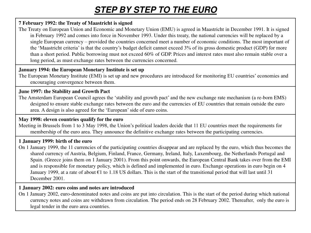 STEP BY STEP TO THE EURO
