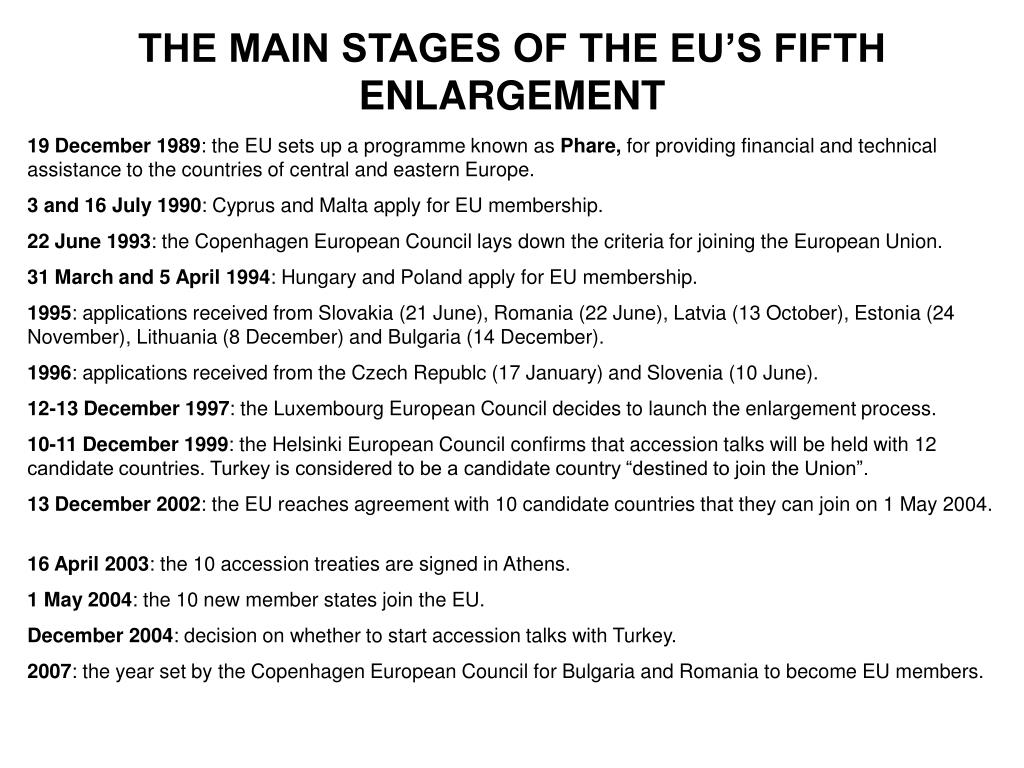 THE MAIN STAGES OF THE EU'S FIFTH ENLARGEMENT