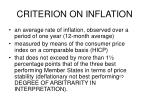 criterion on inflation