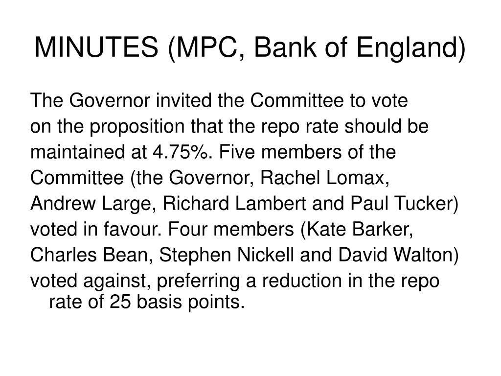 MINUTES (MPC, Bank of England)