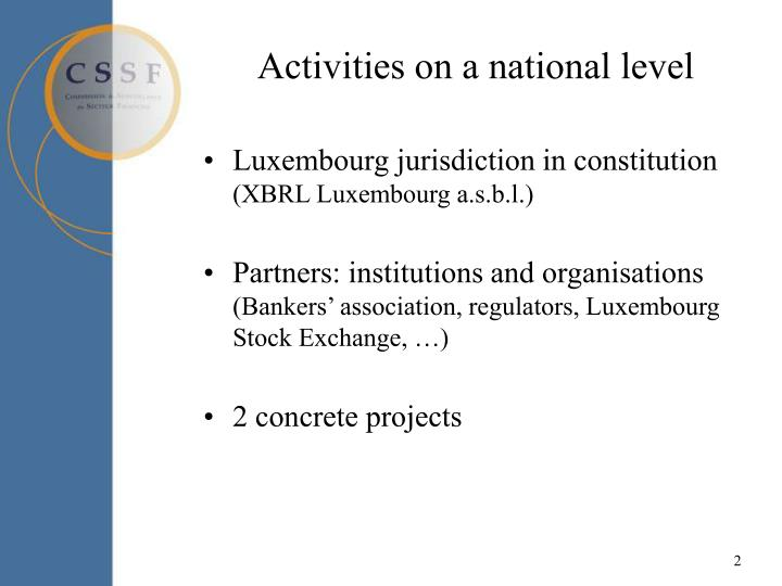 Activities on a national level l.jpg