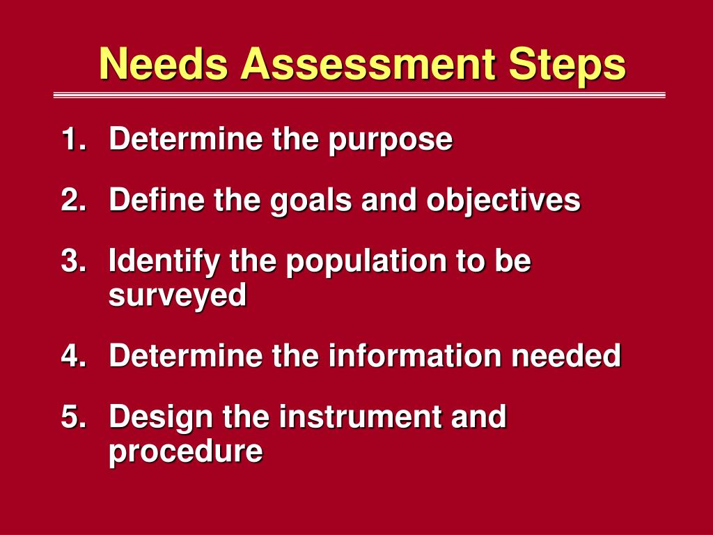 Needs Assessment Steps