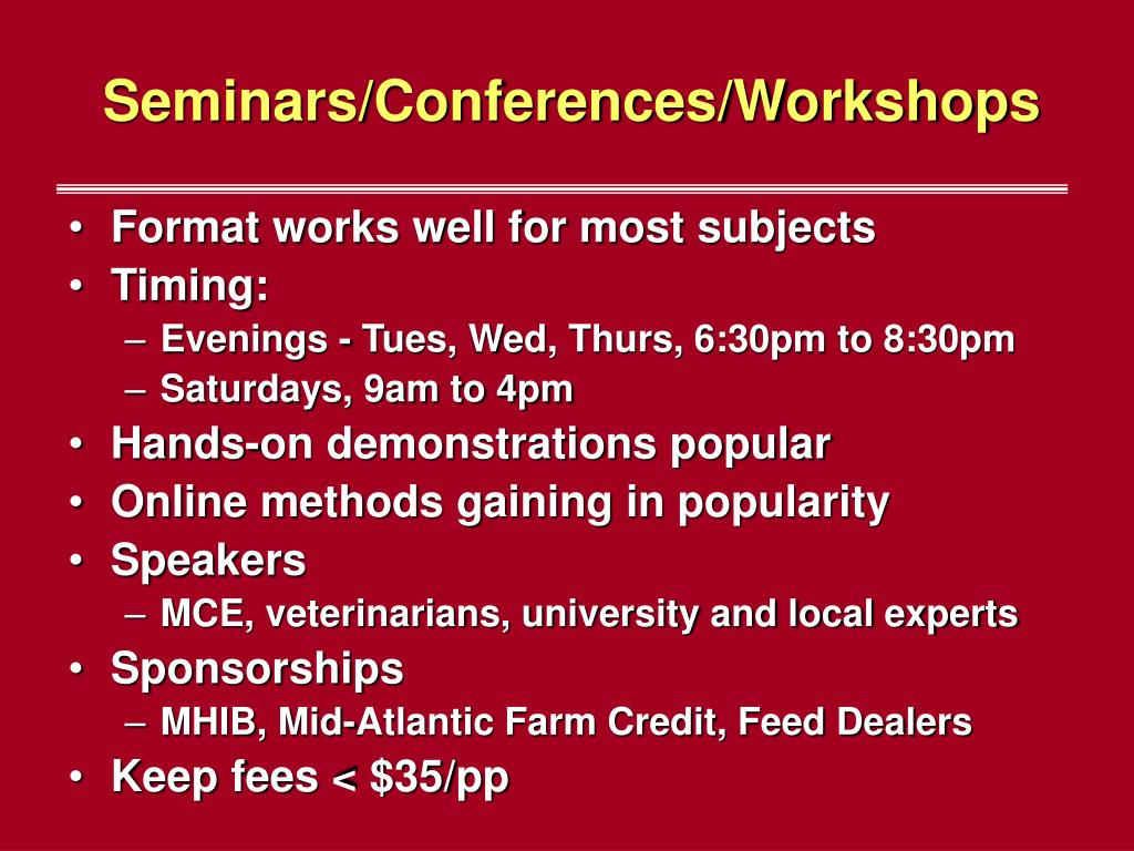 Seminars/Conferences/Workshops