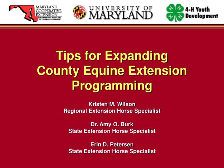 Tips for expanding county equine extension programming l.jpg