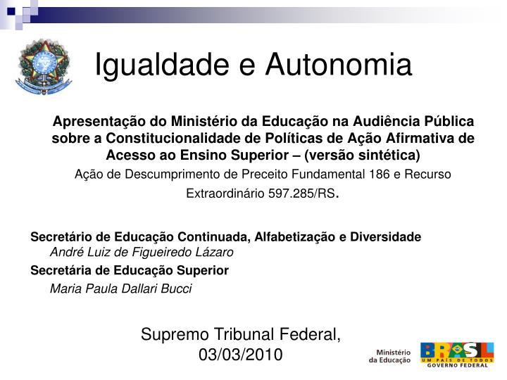 Igualdade e Autonomia