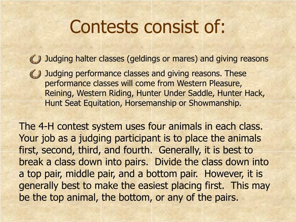 Contests consist of: