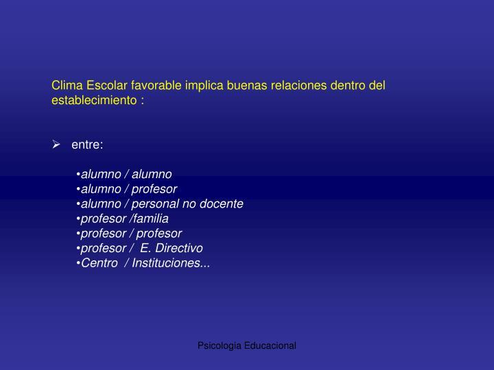 Clima Escolar favorable implica buenas relaciones dentro del establecimiento :