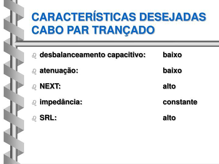 CARACTERÍSTICAS DESEJADAS CABO PAR TRANÇADO