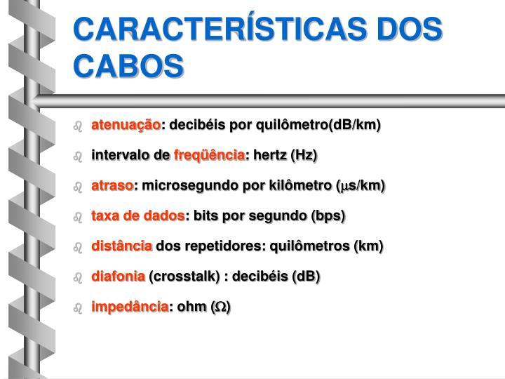 CARACTERÍSTICAS DOS CABOS