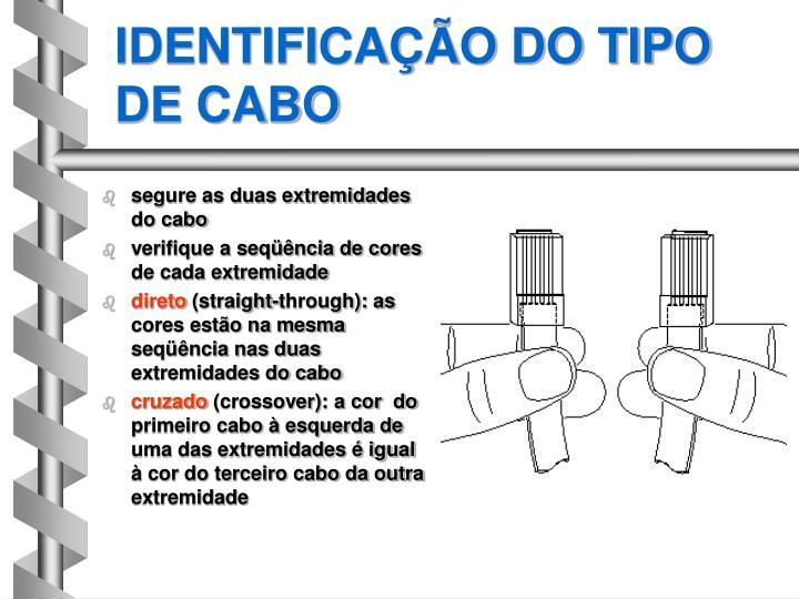 IDENTIFICAÇÃO DO TIPO DE CABO