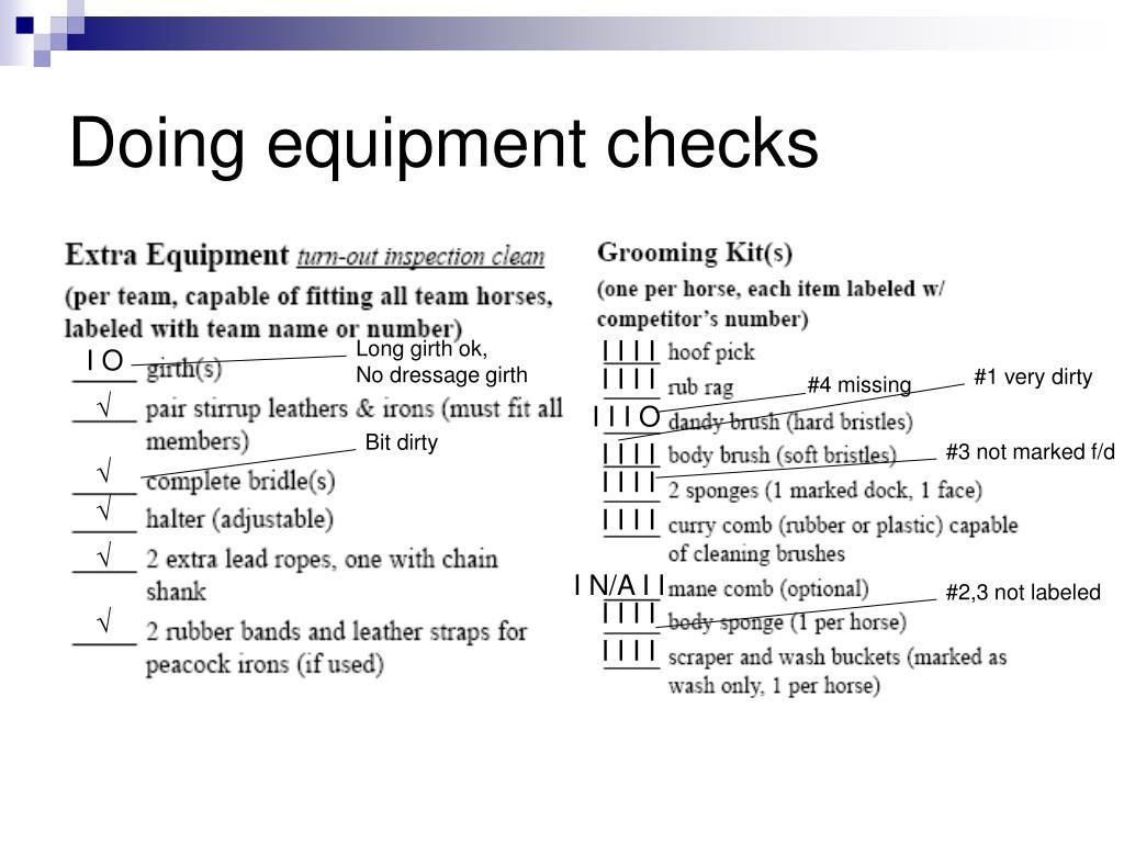 Doing equipment checks