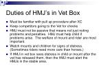 duties of hmj s in vet box