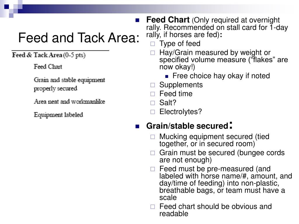 Feed and Tack Area: