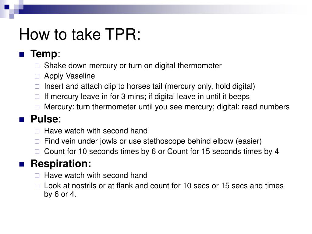 How to take TPR: