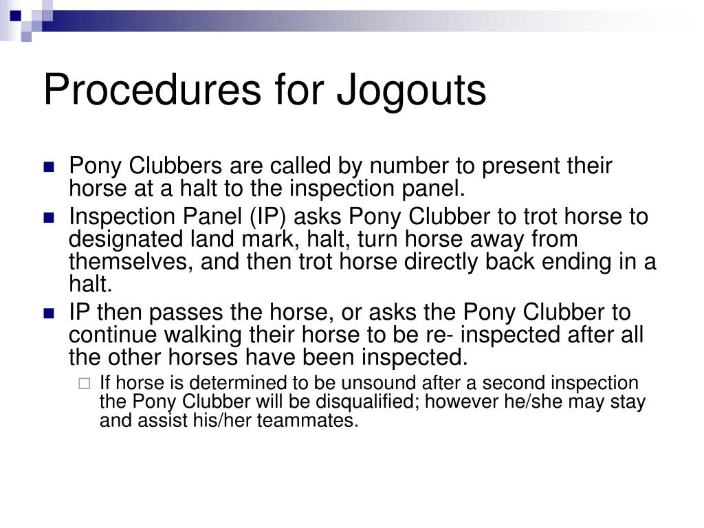 Procedures for Jogouts