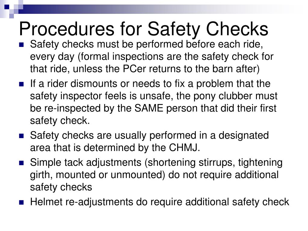 Procedures for Safety Checks
