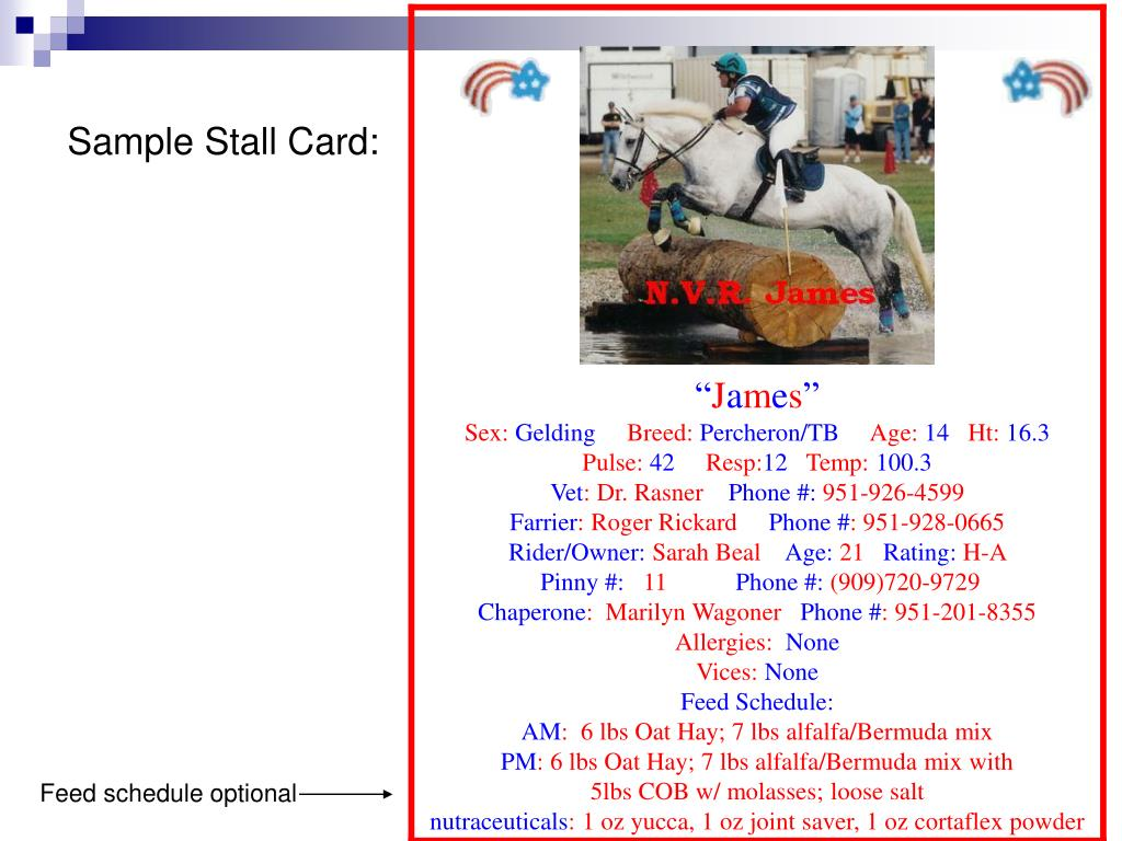 Sample Stall Card: