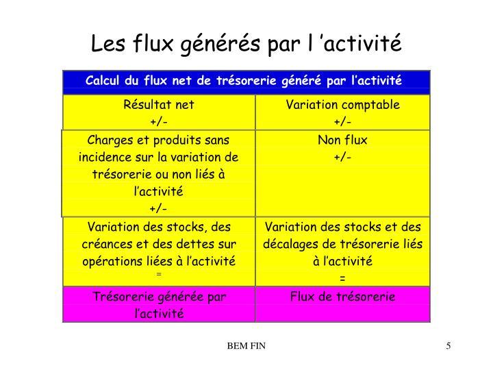 Les flux générés par l'activité