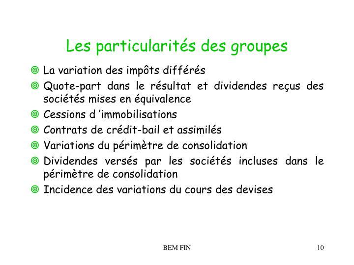 Les particularités des groupes