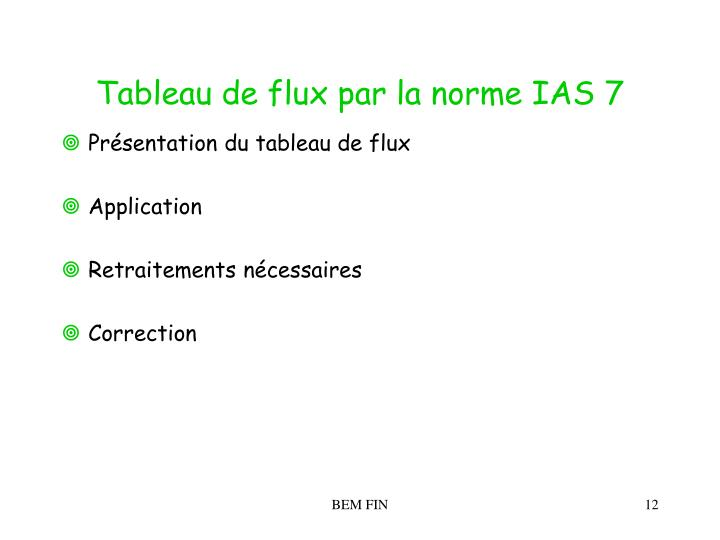Tableau de flux par la norme IAS 7