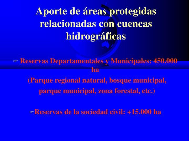 Aporte de áreas protegidas relacionadas con cuencas hidrográficas