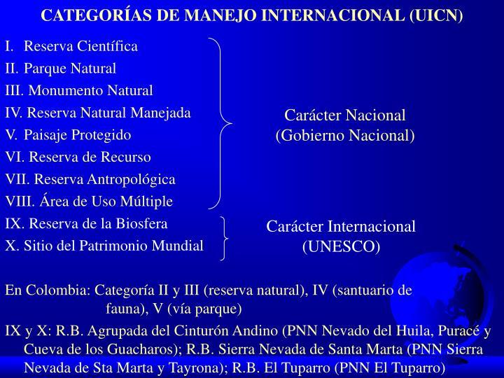 CATEGORÍAS DE MANEJO INTERNACIONAL (UICN)