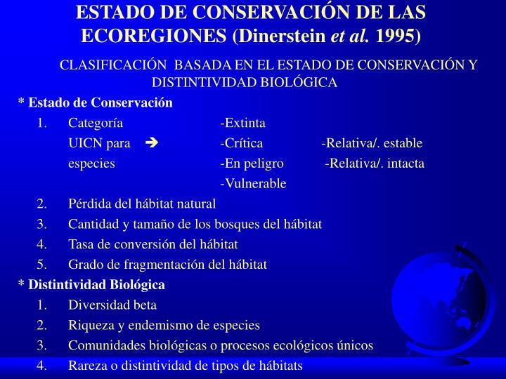 ESTADO DE CONSERVACIÓN DE LAS ECOREGIONES (Dinerstein