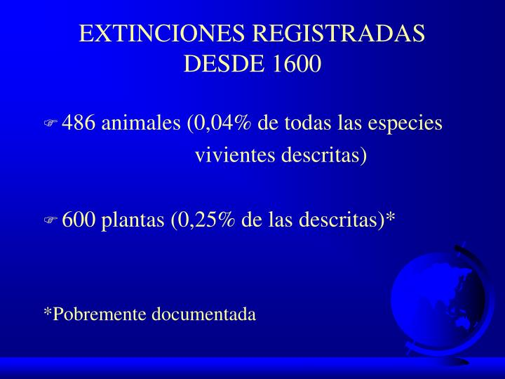 EXTINCIONES REGISTRADAS DESDE 1600
