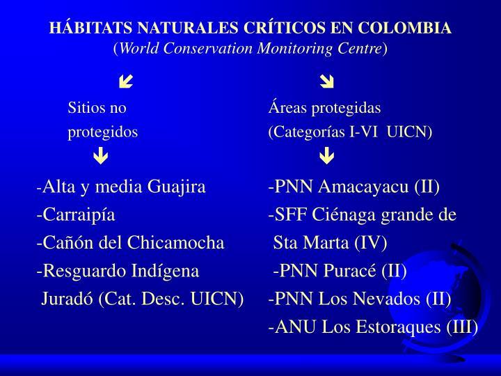 HÁBITATS NATURALES CRÍTICOS EN COLOMBIA