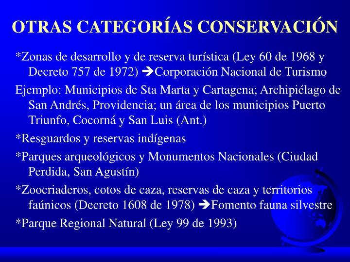 OTRAS CATEGORÍAS CONSERVACIÓN