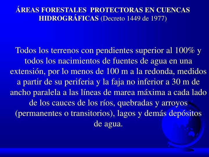 ÁREAS FORESTALES  PROTECTORAS EN CUENCAS HIDROGRÁFICAS