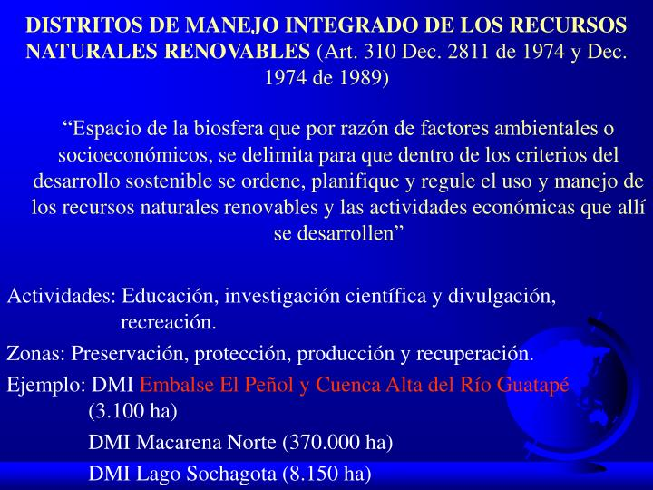 DISTRITOS DE MANEJO INTEGRADO DE LOS RECURSOS NATURALES RENOVABLES