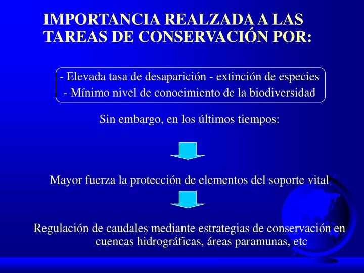 IMPORTANCIA REALZADA A LAS TAREAS DE CONSERVACIÓN POR: