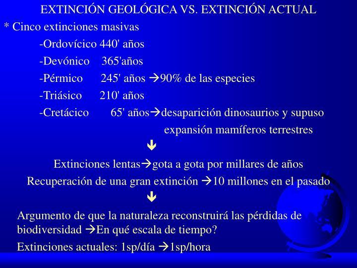 EXTINCIÓN GEOLÓGICA VS. EXTINCIÓN ACTUAL