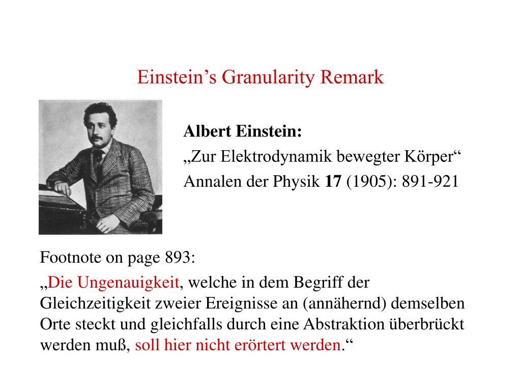 Einstein's Granularity Remark