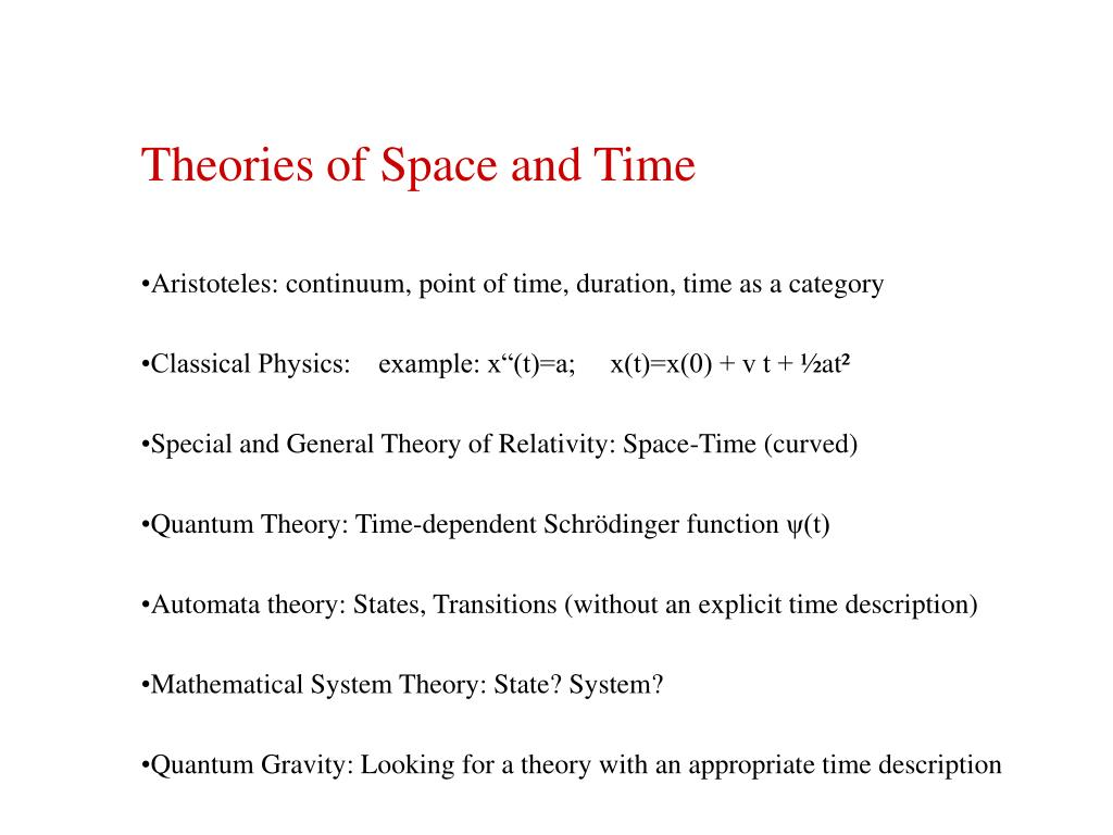 Theories of Space and Time