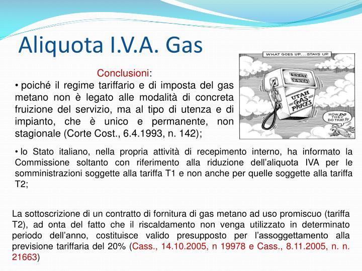 Aliquota I.V.A. Gas