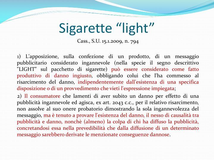"""Sigarette """"light"""""""